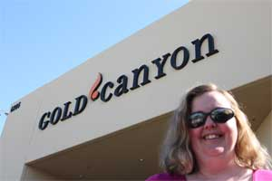 Joy in front of Gold Canyon Headquarters in Arizona.